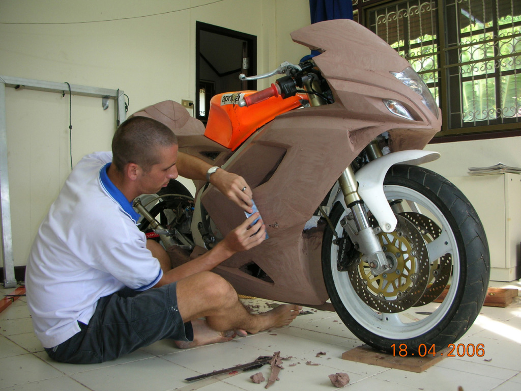 Working on the Tyga Performance Suzuki RGV250 bodykit clay model